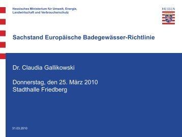 Sachstand Europäische Badegewässer-Richtlinie