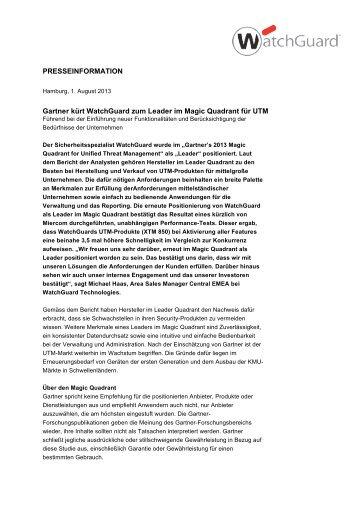 Gartner kürt WatchGuard zum Leader im Magic Quadrant für UTM
