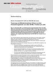2009-11-27 Finanzbedarf 2011-2014 eingereicht - SRG SSR