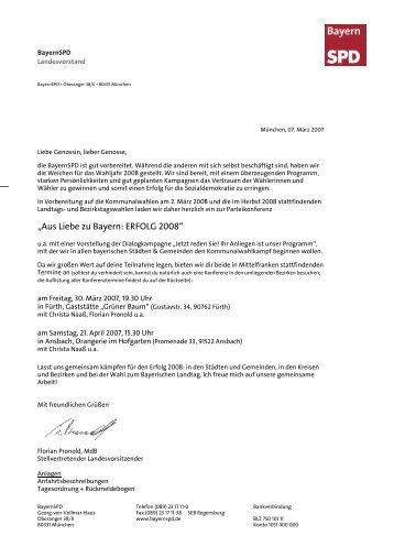 """""""Aus Liebe zu Bayern: ERFOLG """" - SPD Mittelfranken"""