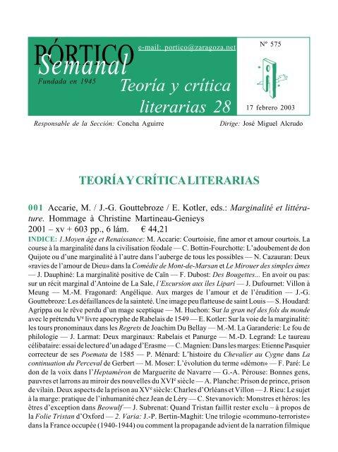 Teoría Y Crítica Literarias 28 Pórtico Librerías