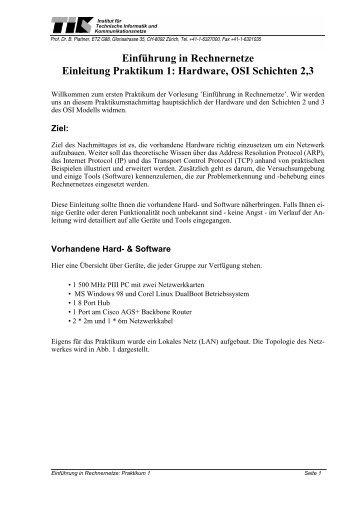 Einführung in Rechnernetze Einleitung Praktikum 1: Hardware, OSI ...