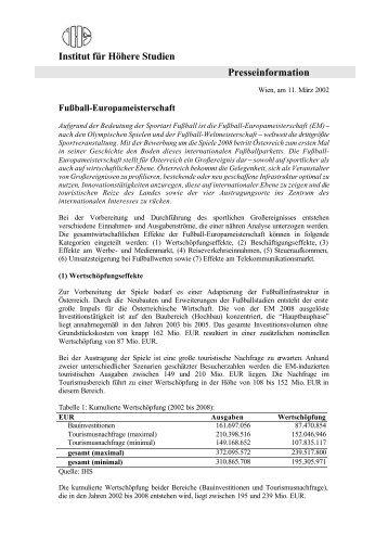 Institut für Höhere Studien Presseinformation - Institute for Advanced ...