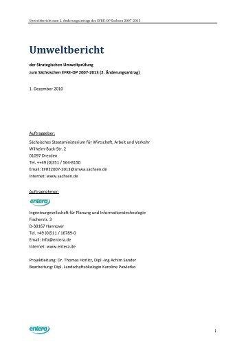 Umweltbericht OP EFRE Sachsen 2007-2013 - Strukturfonds in ...