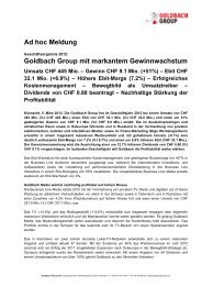 Ad hoc Meldung Goldbach Group mit markantem Gewinnwachstum