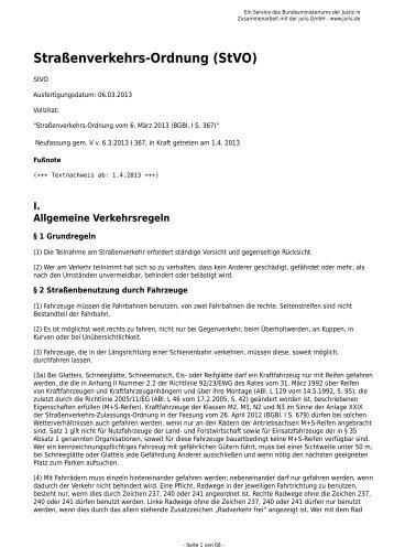 Straßenverkehrs-Ordnung (StVO) - Gesetze im Internet