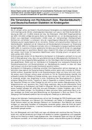 Hochdeutsch im Kindergarten - Deutschschweizer Logopädinnen