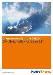 HydroEnergy Energiewunder fürs Dach Der Solarkollektor Sirius12®