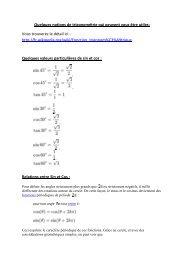 Quelques notions de trigonométrie qui peuvent vous être utiles ...