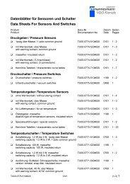 VDO Sensoren Vergleichsliste / sensors compare list VDO