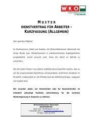 M U S T E R DIENSTVERTRAG FÜR ARBEITER – KURZFASSUNG ...