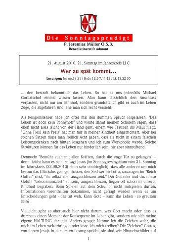 22. August 2010, 21. Sonntag im JK - Martyria.de