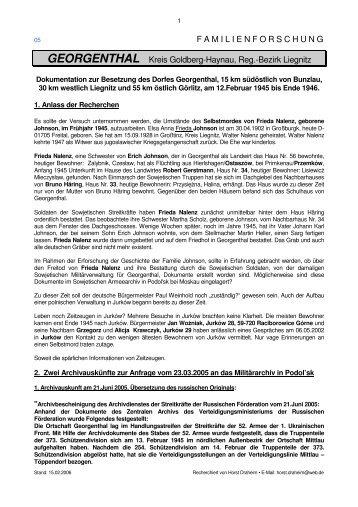 05. Recherche zur Besetzung Georgenthal 1945 ... - Draheim, Horst