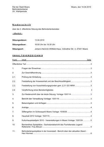 Niederschrift öff - Sitzung 13.04.2010 2. öffentliche Sitzung des ...