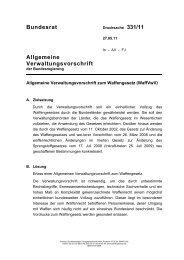 Verwaltungsvorschriften zum Waffengesetz - Bundesrat