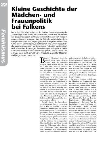 Kleine Geschichte der Mädchen- und Frauenpolitik bei Falkens