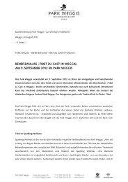 benefizanlass «tibet zu gast in weggis» am 9 ... - Park Weggis