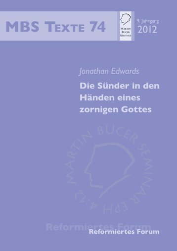 Die Sünder in den Händen eines zornigen Gottes - Martin Bucer ...