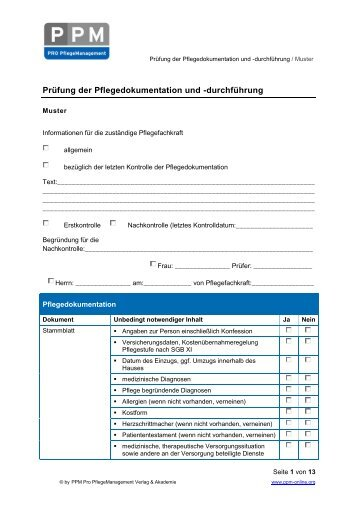 prfung der pflegedokumentation und durchfhrung - Pflegedokumentation Muster