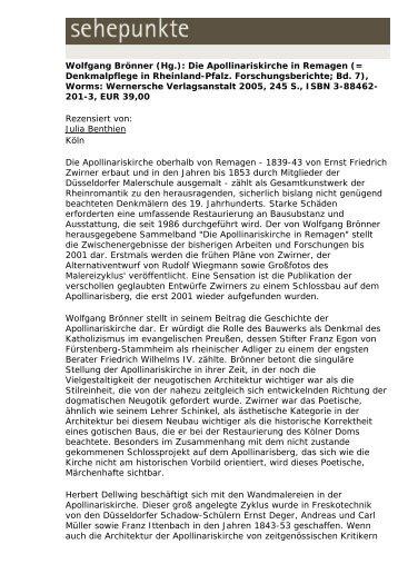 Wolfgang Brönner (Hg.): Die Apollinariskirche in ... - Sehepunkte