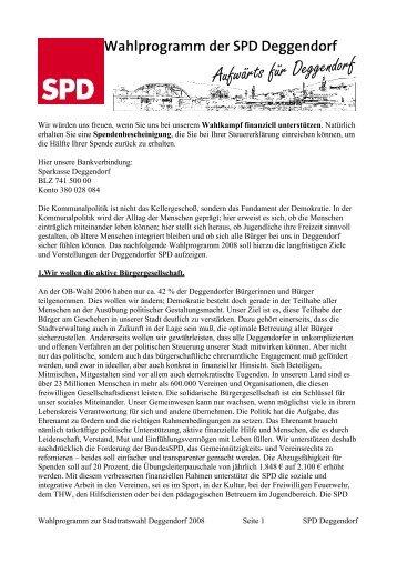 Wahlprogramm der SPD Deggendorf - Dfxnet