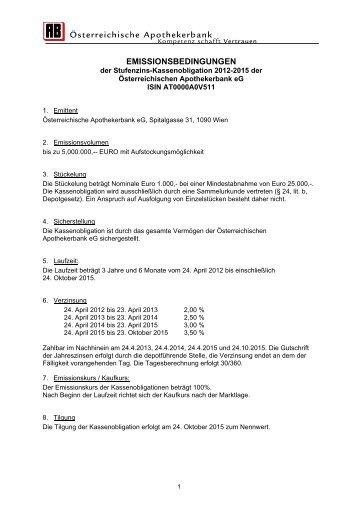 Download Emissionsbedingungen - Österreichische Apothekerbank