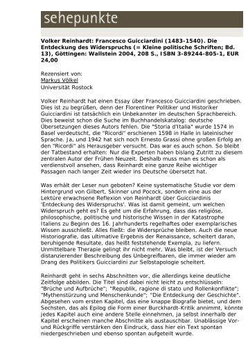 Volker Reinhardt: Francesco Guicciardini (1483-1540 ... - Sehepunkte