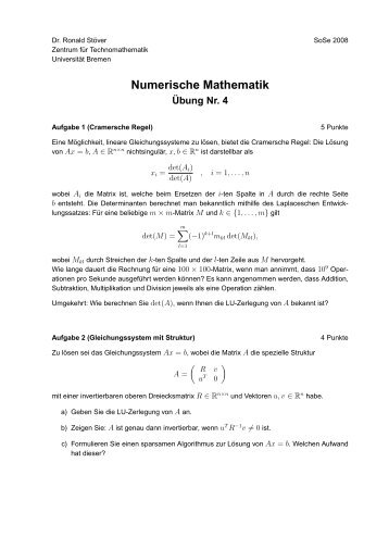 4. Übung - Studiengang Mathematik an der Universität Bremen
