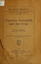 Ungarische kulturpolitik nach dem kriege