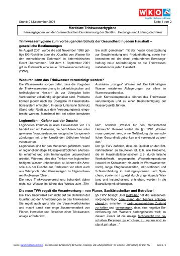 Merkblatt Trinkwasserhygiene Trinkwasserhygiene ... - Mechatroniker