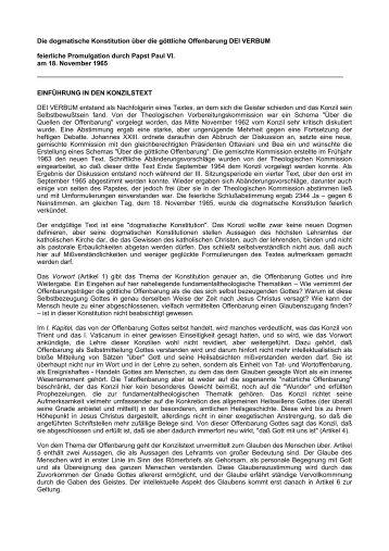 Die dogmatische Konstitution über die göttliche Offenbarung DEI ...