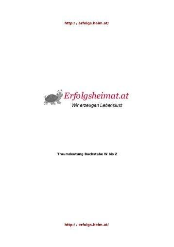 Traumsymbole mit Anfangsbuchstaben W bis Z ... - Traumheimat.at