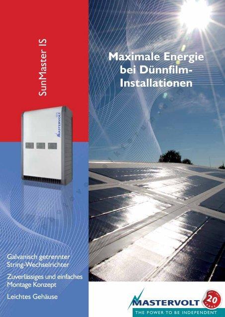Maximale Energie bei Dünnfilm- Installationen - Photovoltaik Forum