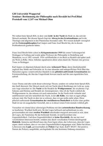 Protokoll 01.02.2007 - Bergische Universität Wuppertal