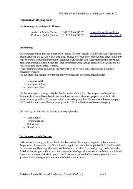 Ionenchromatographie (IC)