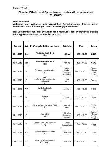 und Sprachklausuren des Wintersemesters 2012/2013 - Hochschule ...