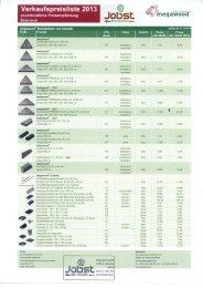 Verkaufspreisliste 2013 @ unverbindliche ... - Holzwelt Jobst
