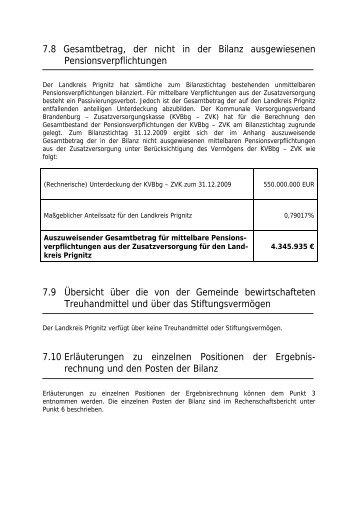 7.8 Gesamtbetrag, der nicht in der Bilanz ... - Landkreis Prignitz