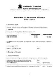 Preisliste für Betreutes Wohnen - Johanneshaus