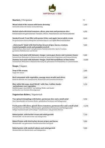 Starters / Vorspeisen Soups / Suppen Vegetarian ... - Wirtshaus im See