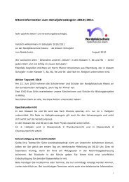 Elterninformation zum Schuljahresbeginn 2010/2011