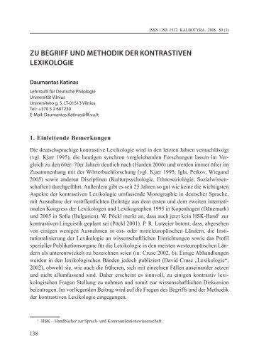 ZU BEGRIFF UND METHODIK DER KONTRASTIVEN LEXIKOLOGIE