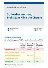 Schlussbesprechung Praktikum Klinische Chemie - Institut für ...