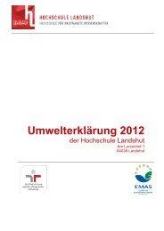 Umwelterklärung 2012 - Hochschule Landshut