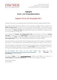 und Antiquitätenauktion Auktion: 23. bis 25. November 2011
