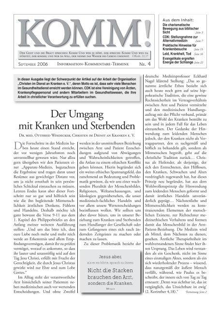 Der Umgang Mit Kranken Und Sterbenden Dr Lothar Gassmann