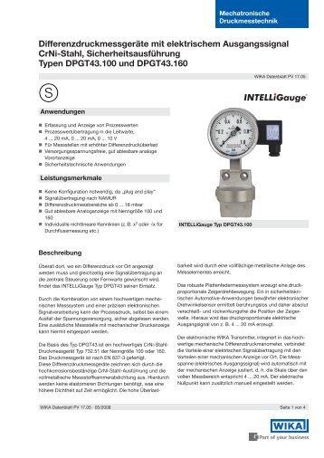 Differenzdruckmessgeräte mit elektrischem Ausgangssignal CrNi ...