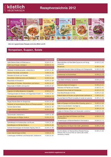 Rezeptverzeichnis 2012 - Köstlich vegetarisch