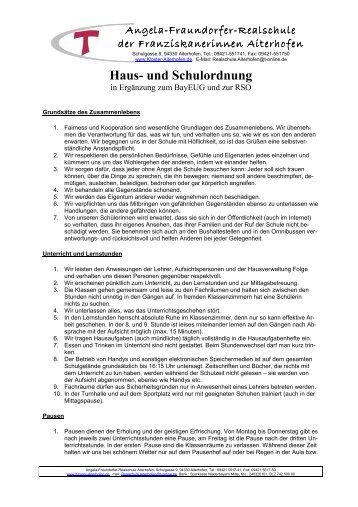 Haus- und Schulordnung 2012 - Franziskanerinnen von Aiterhofen