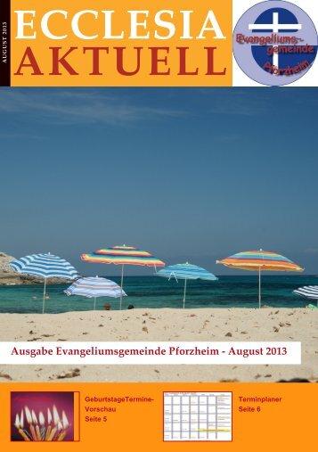 ECCLESIA AKTUELL - Evangeliumsgemeinde Pforzheim